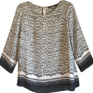 Rise&olive Cream Black Floral flowey blouse